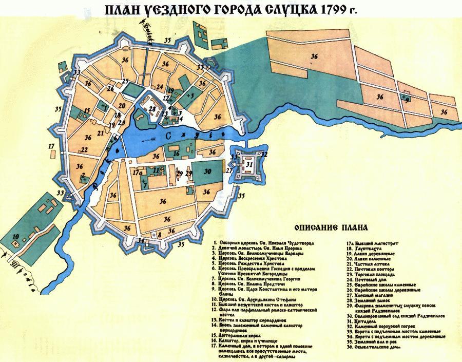 Maps of Belarus Map of city of Slucak Slutsk in 1799